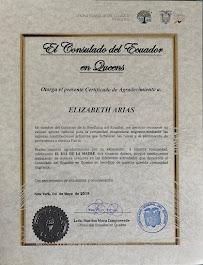 Certificado otorgado por el Consulado del Ecuador. New York, Mayo 4, 2019
