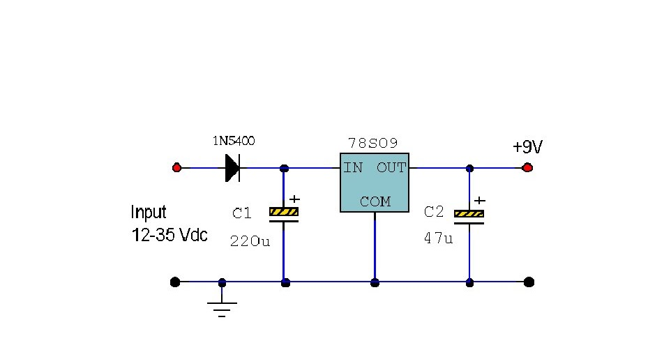 electronics circuit application   78s09 9 volt 2 amp power