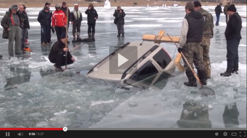 You Will Not Believe How These Russians Get This Car Out Of A Frozen Lake