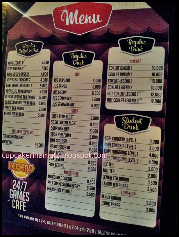 Legend Cafe Jogja Menu