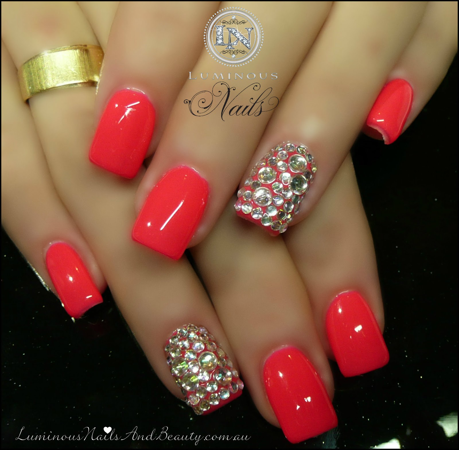 nails,+Gel+nails,+Spray+Tans,+sculptured+acrylic+with+Coral+Pink+Gel