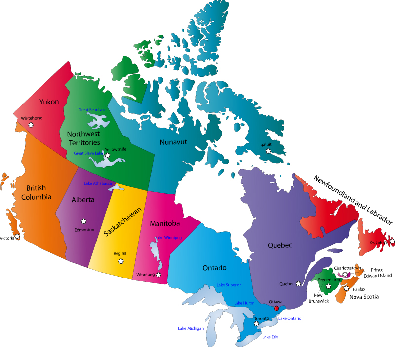 canada political city map