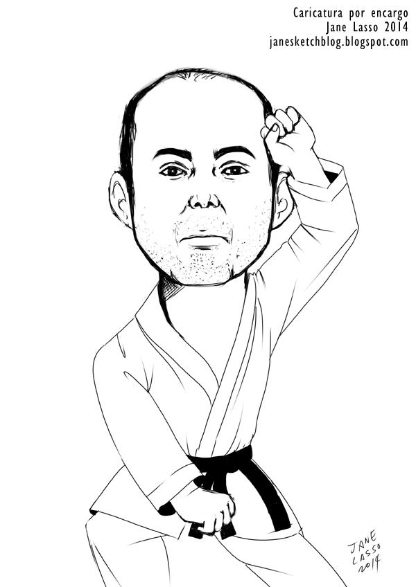 Caricatura de hombre karateca