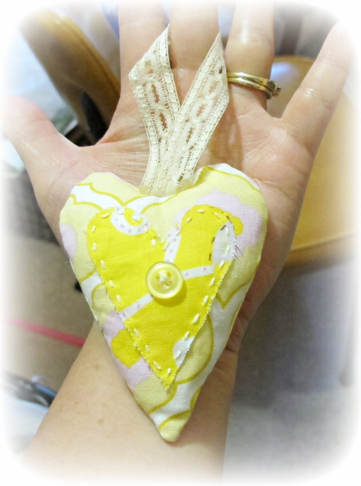 image yellow heart christmas ornament fabric cotton blossom lace button