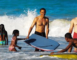 Obama on the beach