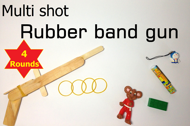 Simple Rubber Band Gun Out Of Popsicles