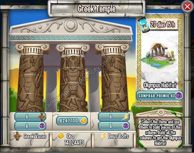 imagen de las tareas y objetos magicos de la isla olimpus de dragon city