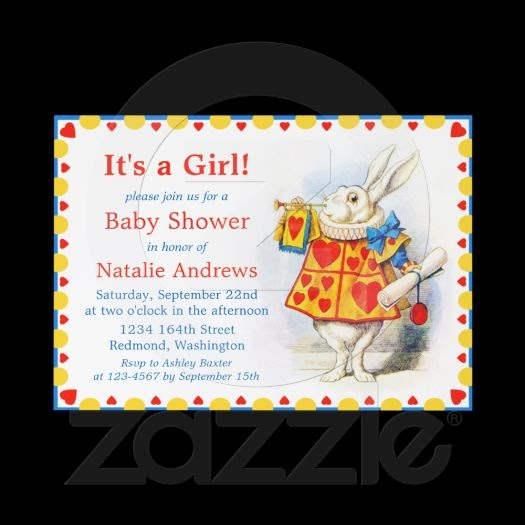 alice in wonderland custom baby shower invites invitation