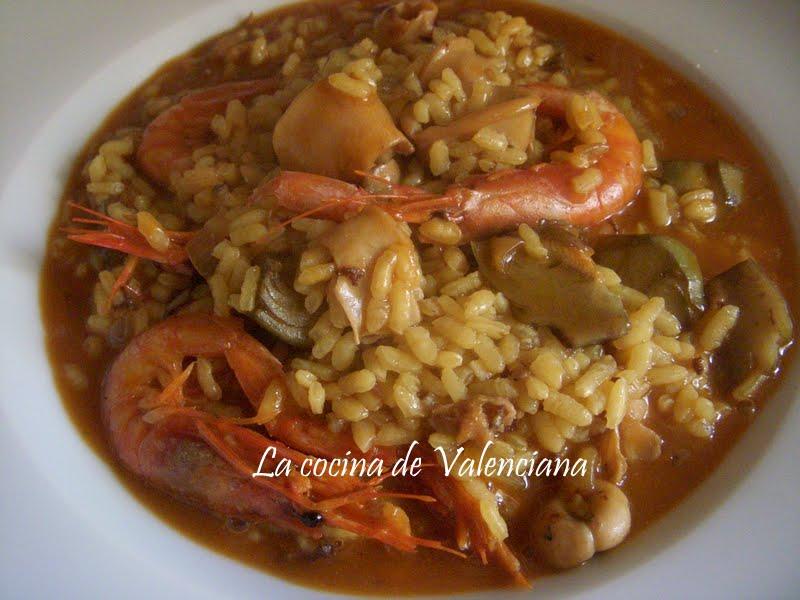 La cocina de valenciana arroz meloso de calamares gambas for Cocina valenciana