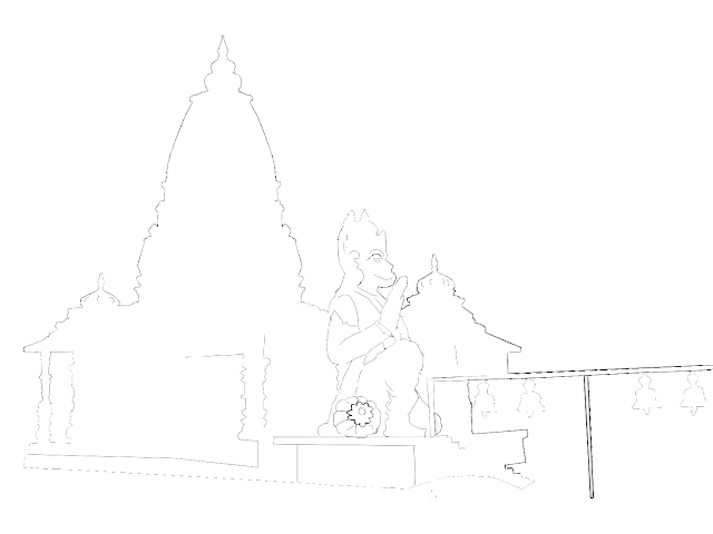 sketch of a Hanuman temple