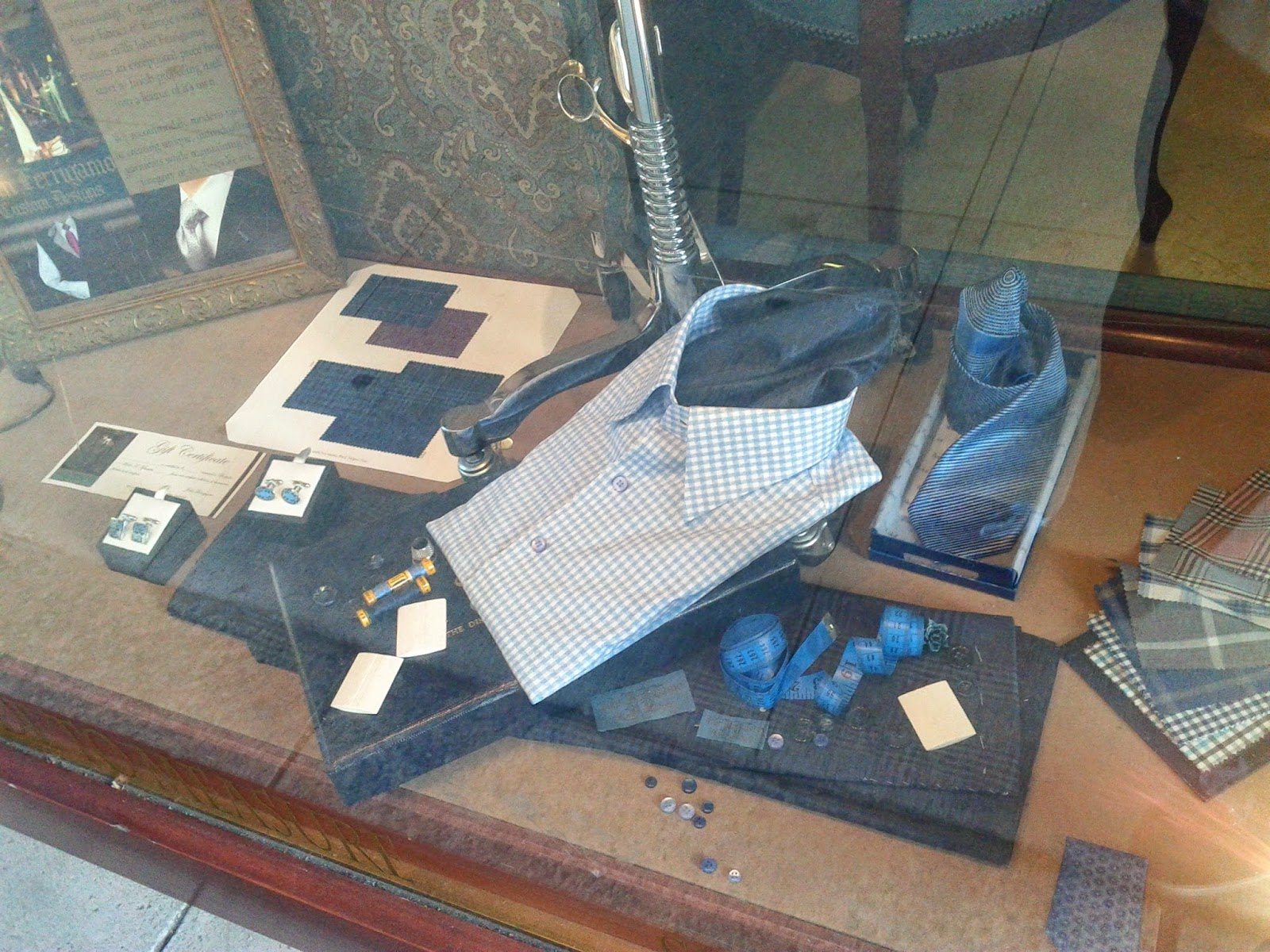 Stock photo: Mens shirts in the window display in a store