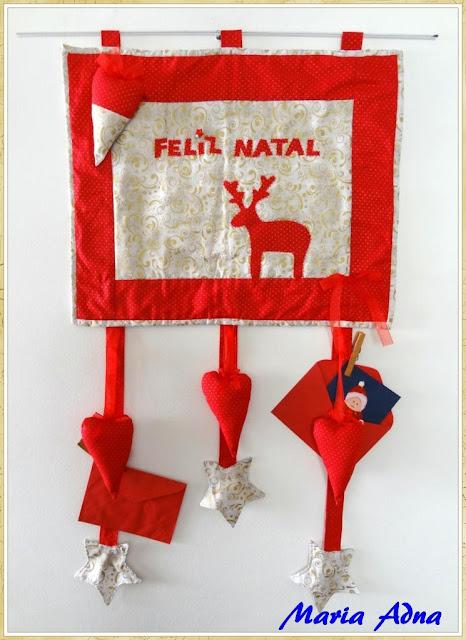 Apliquê de natal, Painel de natal, panô de natal, Decoração de natal, Maria Adna Ateliê, Publicado em revista, Panô de natal publicado em revista