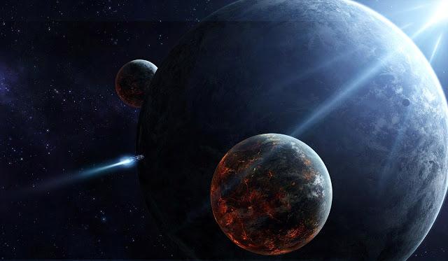 viagem nave espacial, luz azul universo, planetas sistema solar