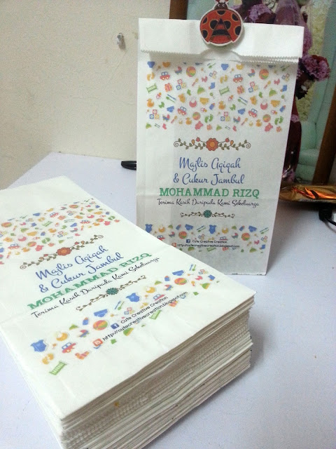 Paper bag door gift aqiqah cukur jambul for Idea door gift cukur jambul