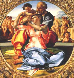 "Painting ""Doni Tondo"" by Michelangelo, 1504-1506"