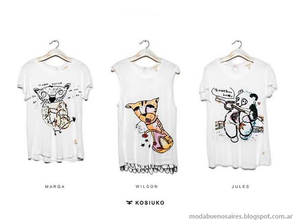 Remeras moda verano 2014 Kosiuko para combinar con shorts. MODA.