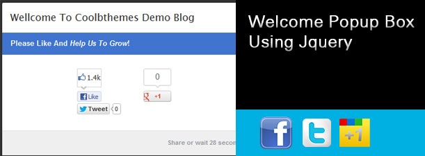 Social Welcome Popup Box With Social Share Using Jquery For Blogger