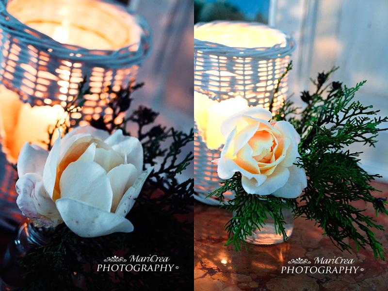 Lanterna nordica e rosa bianca per natale