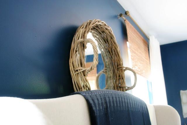 Mirror and Basket hanging over Headboard // Craftivity Designs