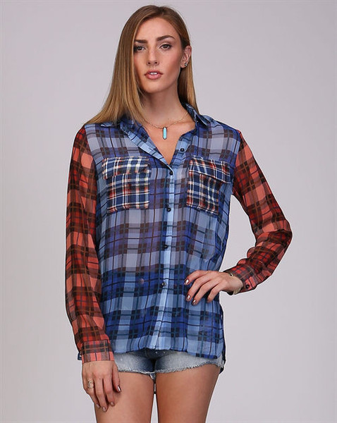 AMERICAN AUTUMN RED AND BLUE PLAID