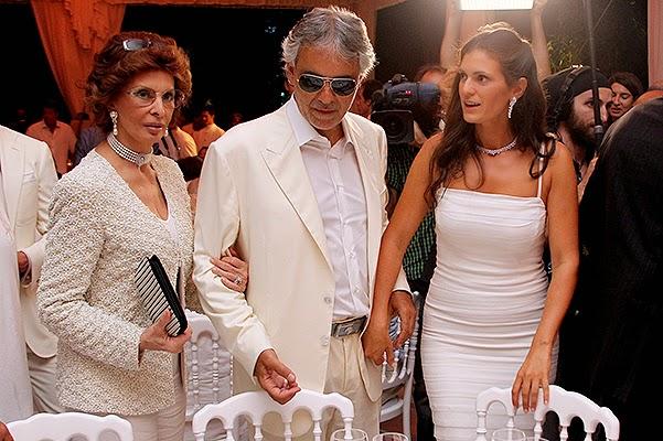 Sophia Loren, Andrea Bocelli and Veronica Bocelli