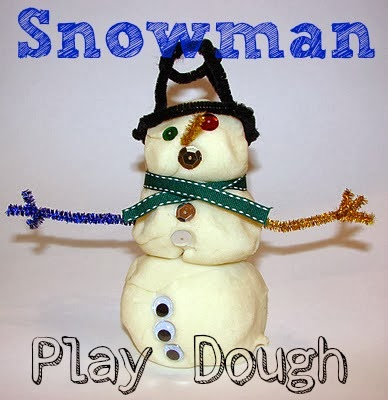 Bring some winter fun indoors with this snowman play dough activity.