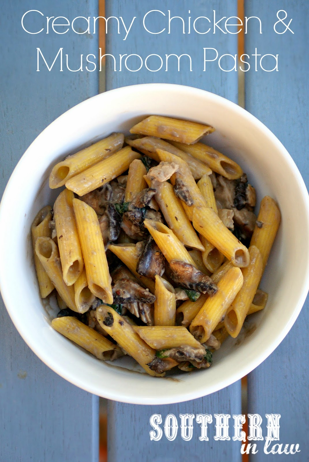 Low Fat Creamy Chicken and Mushroom Pasta Recipe - healthy, gluten free, clean eating friendly