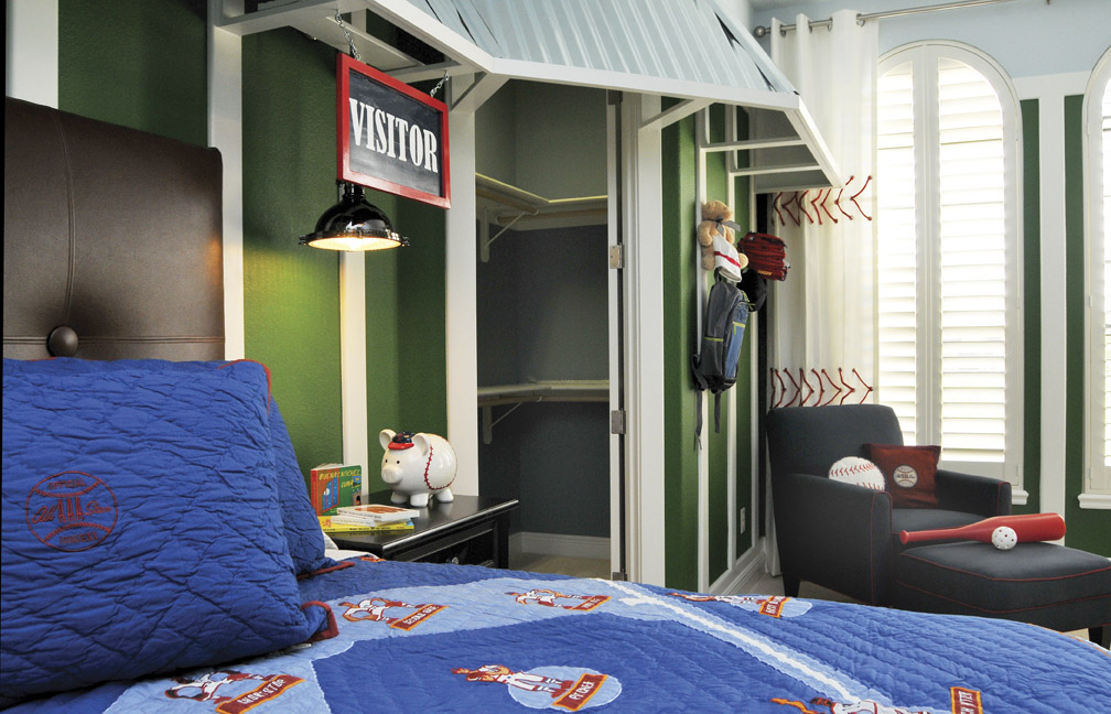 The Storage Area Is Actually A Functional Locker System Beneath Which Sits Dugout Bench Framed Baseball Memorabilia And Inspired Bedding