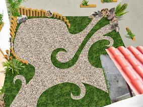 propuesta diseño jardín pequeño minimalista con pasto y bambu