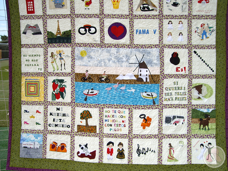 Quilt de patchwork con mensaje