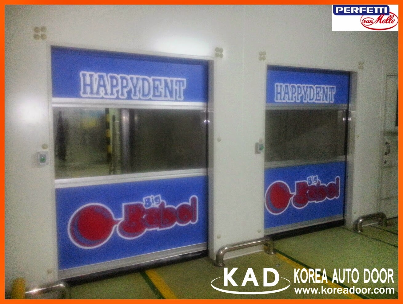 This is a picture of kad high speed doors built in a happydent and mentos plant.