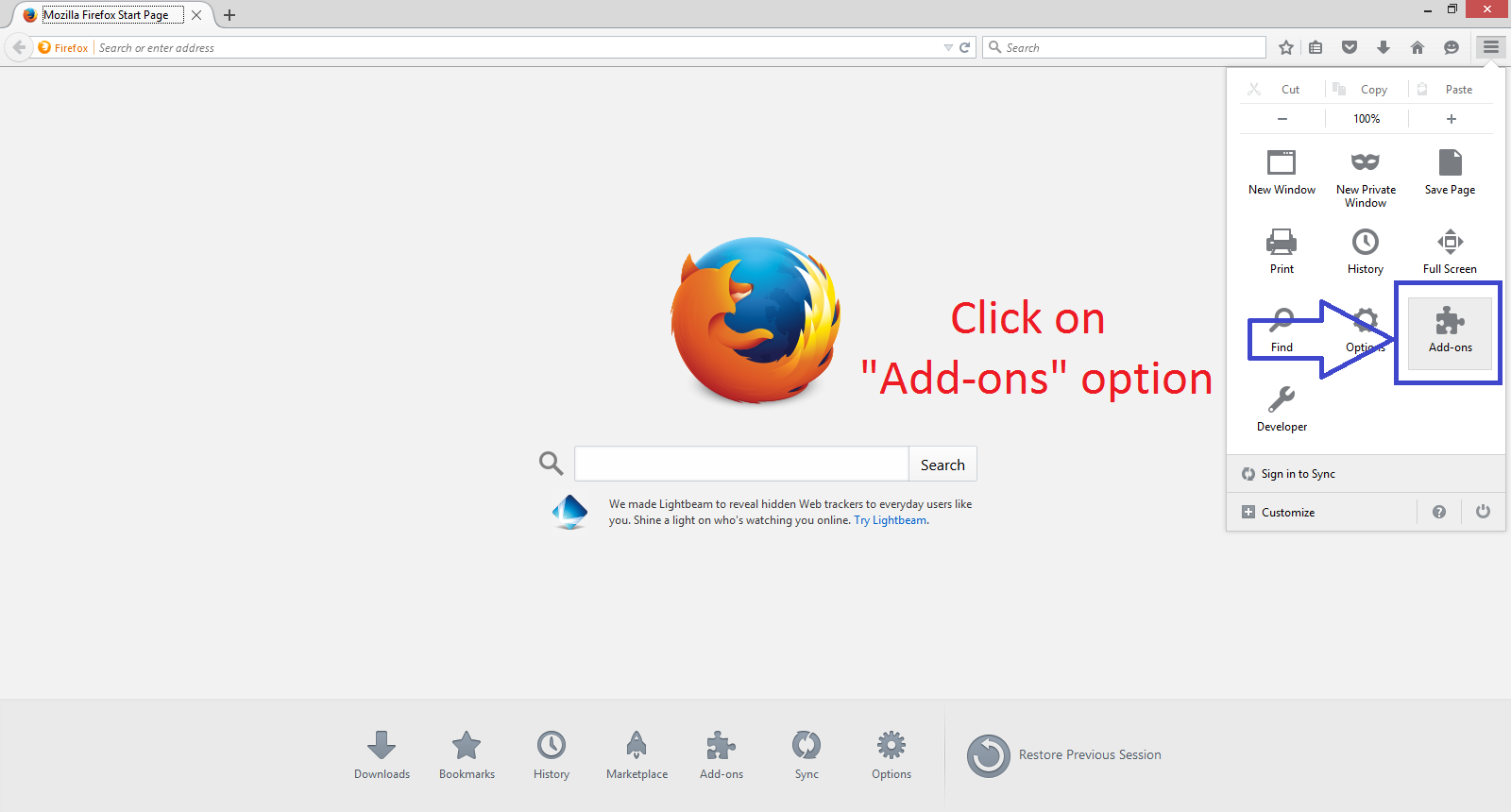 Solved how to access any blocked website on mozilla firefox go to add ons setting page ccuart Choice Image