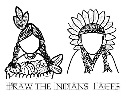 Thanksgiving Indian Coloring Page Draw the Face