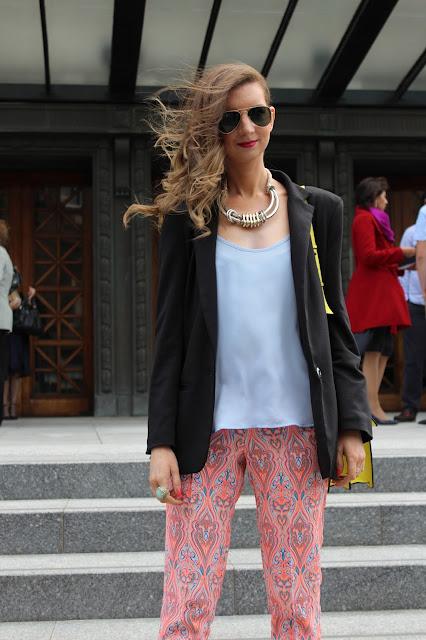topshop_paisley_neon_orange_trousers_black_asos_blazer