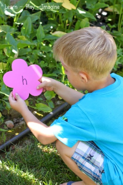 Spring activity for preschool - go on an alphabet flower hunt!