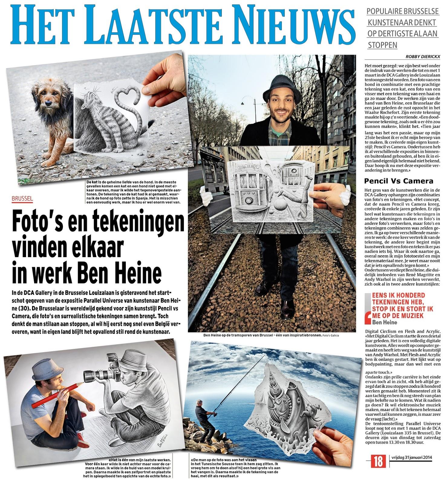 Ben Heine Art - News Article in Het Laatste Nieuws - Belgium (January 2014)
