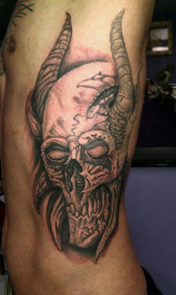tattoosbychrisamlie demon skull tattoo