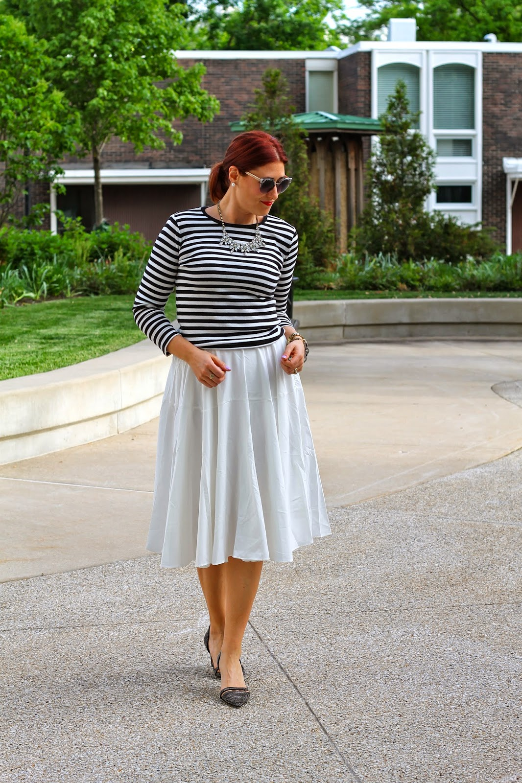 white, midi, skirt, striped, top, french