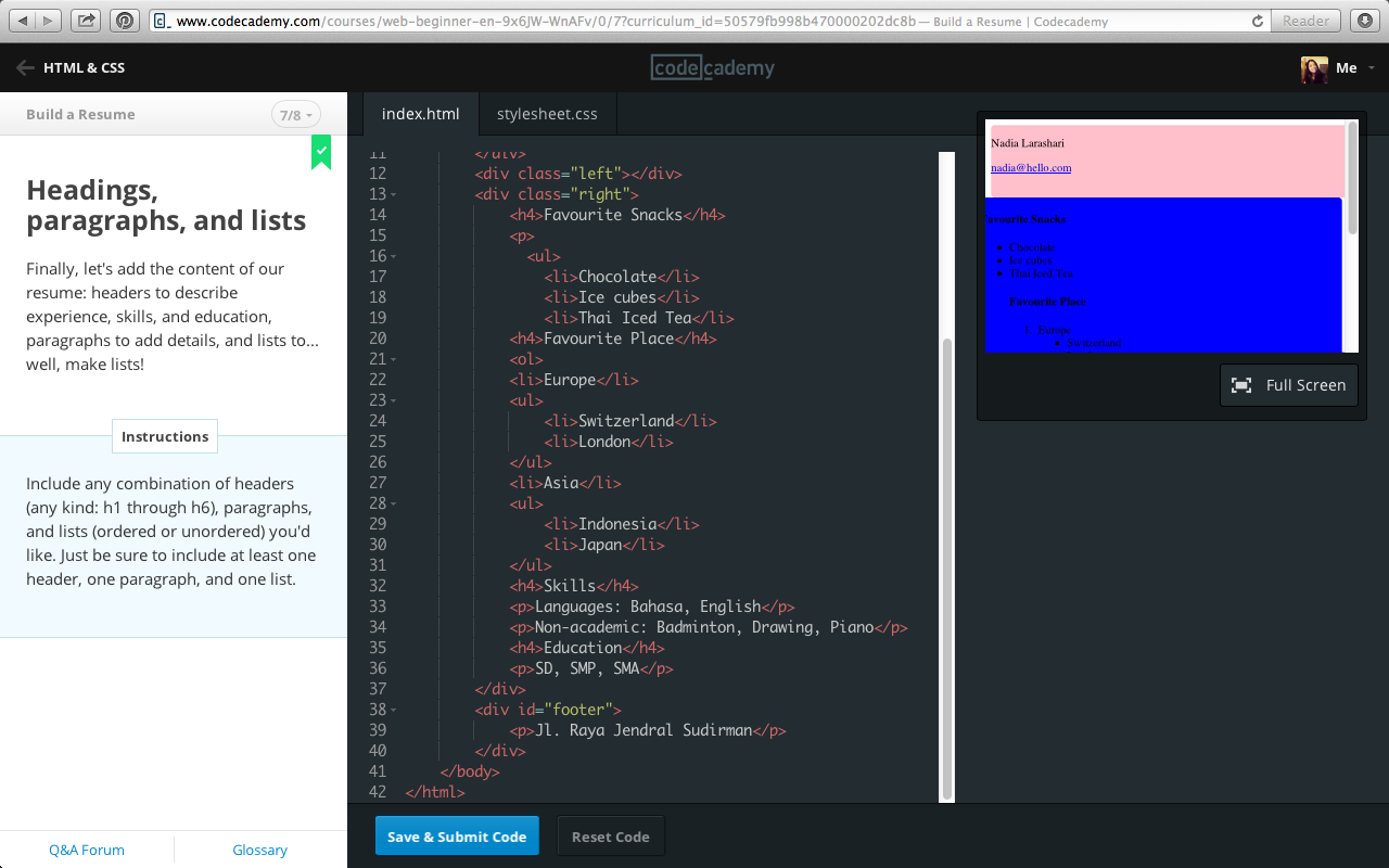nadia larashari shabrina codecademy html css build a resume posted by nadia larashari s at 21 52