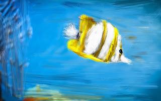Invenções- Peixe pintado em tela virtual