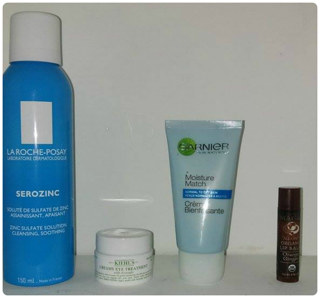 la roche posay serozinc, garnier moisture match normal to dry skin, dr bronner's magic lip balm, Kiehl's Avocado eye cream
