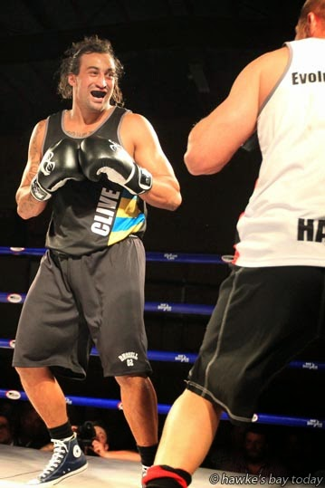 James Tango, left, won his bout against Henare Harris - Kelt Capital King of Club Rugby charity boxing event, at Lindisfarne College, Hastings. photograph