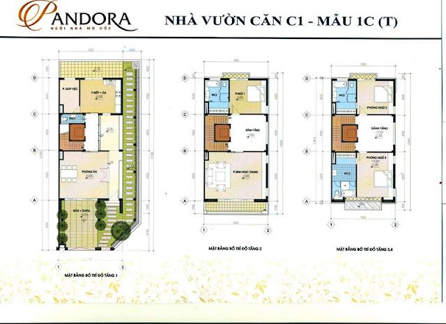 biệt thự pandora mẫu 1C tầng 1,2,3,4