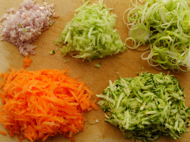 Raw ingredients - carrot, courgette, celery, leek, shallot for patina in brodo