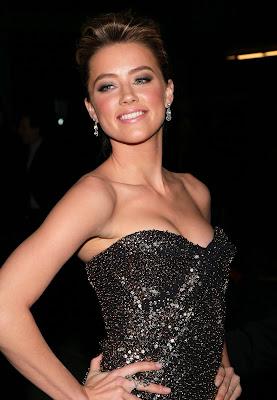 Amber Heard In A Metallic Dress