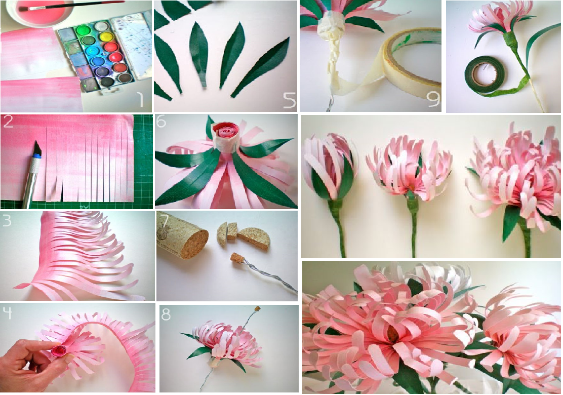 Diy paper flowers goodiy Home decor craft step by step