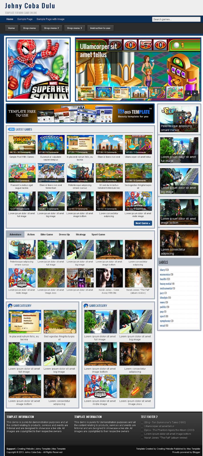 Mẫu giao diện blogspot trang game online