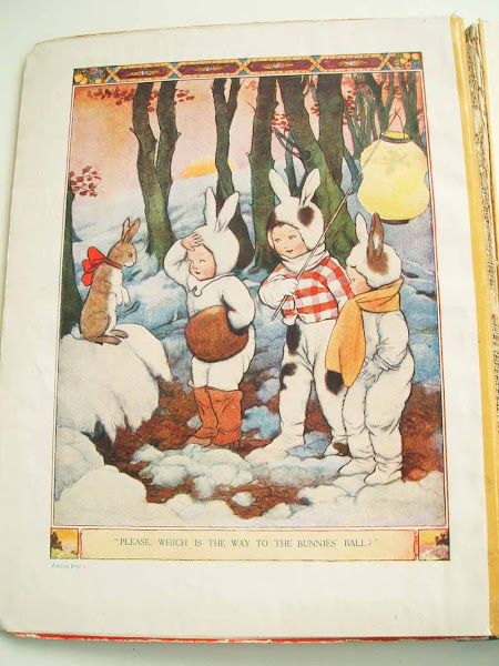 tiger tim, annual, colour plate, illustration, snow, bunnies, bunnies ball