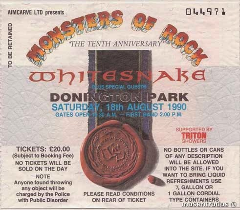 entrada del festival donington park monsters of rock