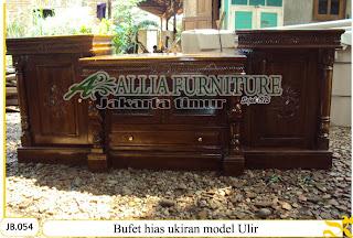 Bufet kayu jati hias model ukiran Ulir